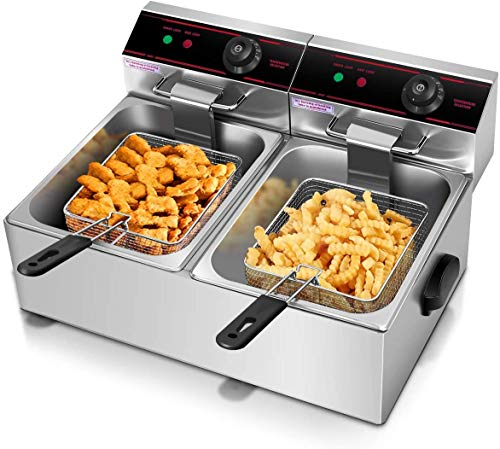 ARLIME 12L Electric Countertop Deep Fryer Dual Tank Home Kitchen Commercial Restaurant With Stainless Steel Double Electric Fryer Basket and Temperature Control 5000W