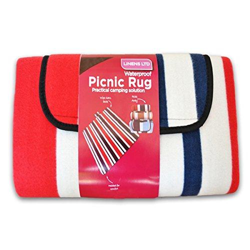 Linens Limited - Couverture de Pique-Nique - Polaire - résiste à l'eau - Rayures - Rouge - 105 x 135 cm