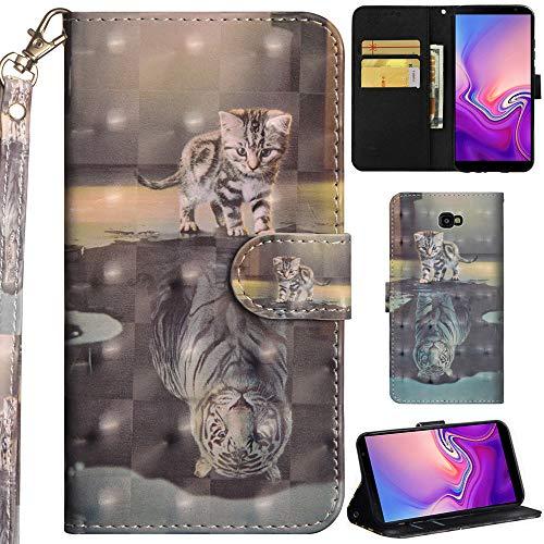Ooboom Samsung Galaxy J4+ Plus Hülle 3D Flip PU Leder Schutzhülle Handy Tasche Hülle Cover Ständer mit Kartenfach Trageschlaufe für Samsung Galaxy J4+ Plus - Katze Tiger