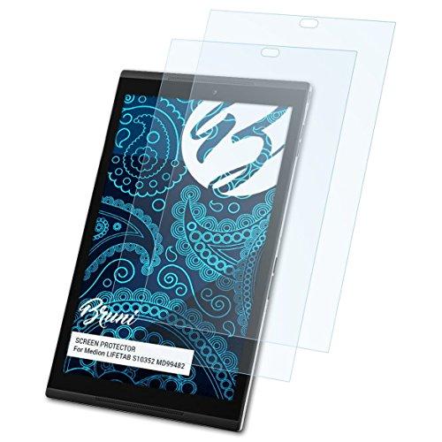 Bruni Schutzfolie kompatibel mit Medion LIFETAB S10352 MD99482 Folie, glasklare Bildschirmschutzfolie (2X)