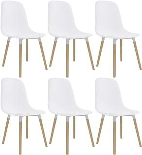 Festnight Sillas de Comedor 6 Unidades Sillas de Cocina Sillas de Oficina Plástico Blanco 47 x 50,5 x 83 cm