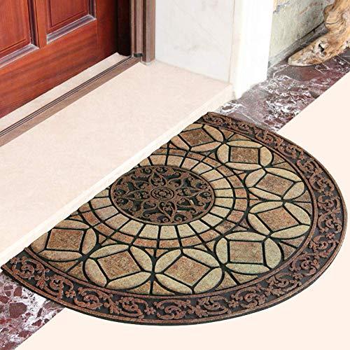 Eanpet Decorative Doormat Outdoor Rubber Mat for Front Door Entrance Mat Indoor 2x3 Rug for Front Door Entry Non Slip Mat Outside Doormat Half Round (Yellow)