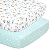 The Peanutshell Safari Fitted Crib Sheet Set for Baby Boys or Girl, 2 Pack Unisex Set