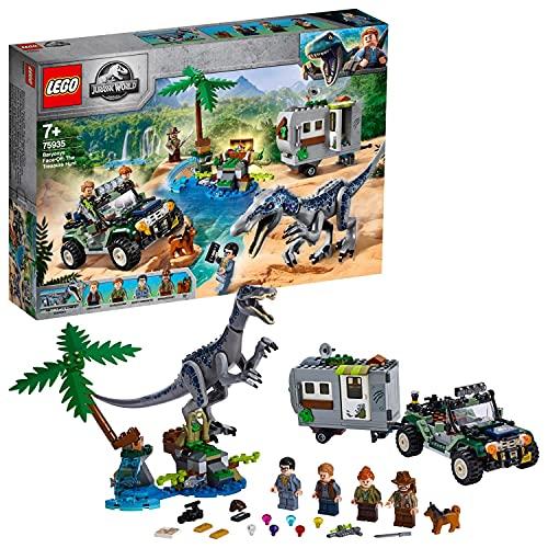 LEGO Jurassic World - Encuentro con el Baryonyx: La Caza del Tesoro Juego de Construcción con Dinosaurio de Juguete y Vehículo Todoterreno con Caravana, Novedad 2019 (75935)
