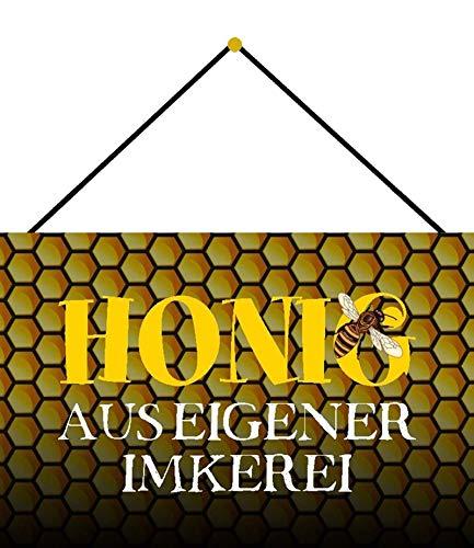 NWFS Cartel de chapa con forma de panal de miel de abeja (metal, 20 x 30 cm, con cordón)