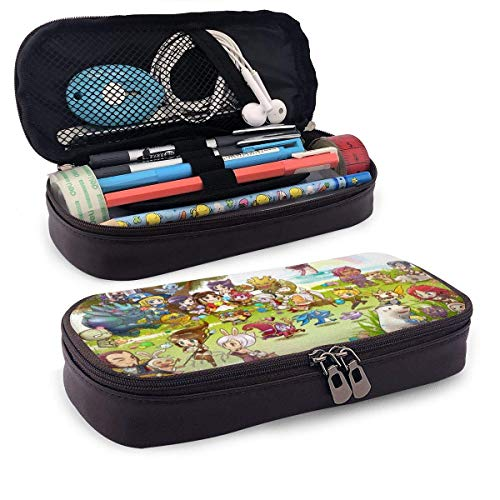 Leather Pencil Case LOL League Cartoon Pen Case Pouch Holder Stationery Cosmetic Makeup Double Zipper Bag for Adults Girls Boys School Office