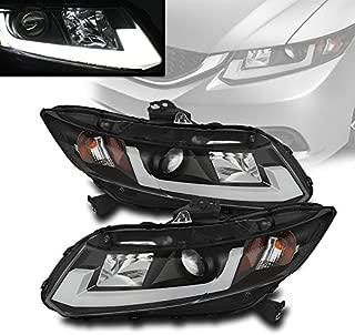 ZMAUTOPARTS Honda Civic 2/4 Dr Sedan/Coupe Projector DRL Bar Tube Headlights Black Set