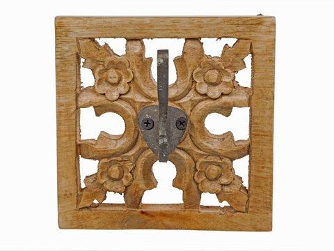 KA Hale Deco Perchero Siraj. Perchero de Madera de Mango Tallada a mano. Medidas 18X18X8 acabado Natural. Fabricado en la India. Percha de 1 gancho. Colgador de madera tallado.