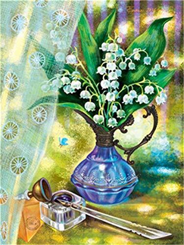 Kit Fai-da-Te per Pittura 5D con Strass - Vaso Blu - principiante Diamond Painting Kit Completo Ricamo su Tela con Strass Motivo Regalo di Festa 40x50 cm
