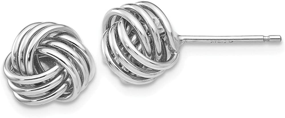 Solid 14k White Gold Ridged Love Knot Post Studs Earrings 8mm