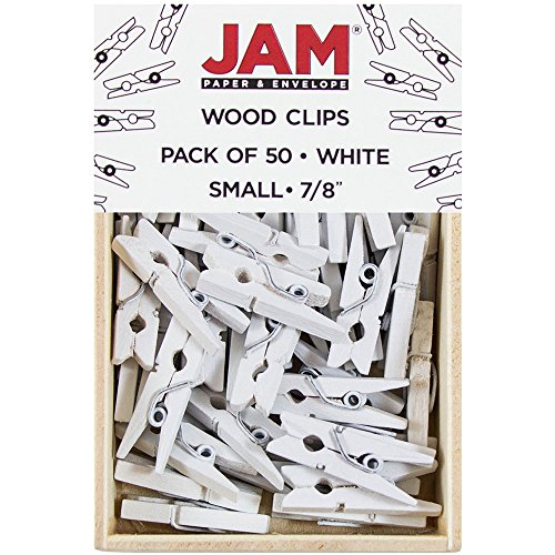 JAM PAPER Wood Clip Clothespins - Small - 78 Inch - White - 50 Clothes PinsPack