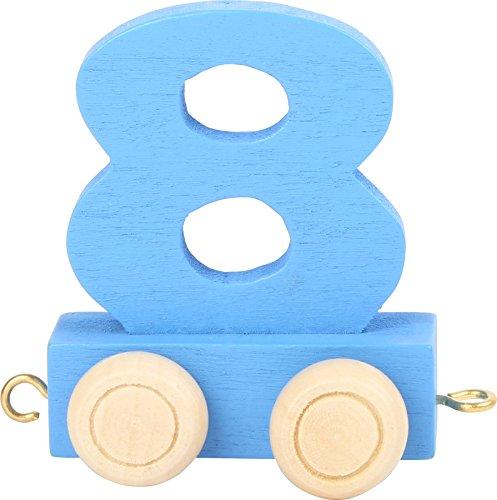 Buchstabenzug | Geburtstags Zahlen und Waggon mit Kerzenhalter | Holzeisenbahn | EbyReo® Namenszug aus Holz | personalisierbar | Geburtstag oder als Deko für den Geburtstagstisch (08 Zahl 8)