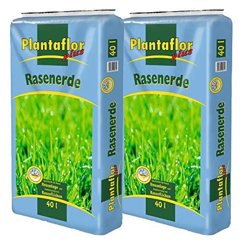 Plantaflor Plus Rasenerde 80 L (2 x 40 L) Spezial Rasen Erde für Neuansaat Ausbesserung und Pflege mit Quarzsand für alle Rasenflächen