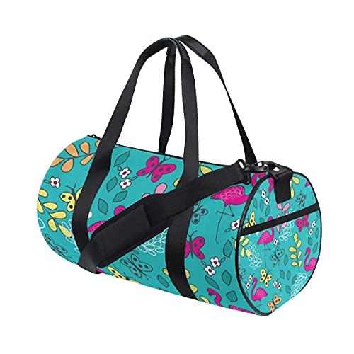 Borsone da palestra, modello senza cuciture con fenicottero rosa e farfalla, borsa da viaggio con scomparto per scarpe e tasca bagnata, per donne o uomini