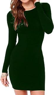 Haola Women`s Sexy Casual Long Sleeve Short Dress Mini Dress