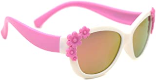 8b808bd3bf6 TIJN TR Frame Polarized Cateye Sunglasses Cute Flower Oval Shaped for Girls  Kids