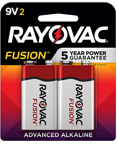 Rayovac Fusion 9V Batteries, Premium Alkaline 9V Battery (2 Count)