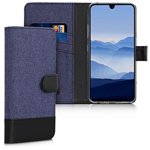 kwmobile Wallet Hülle kompatibel mit LG G8X ThinQ - Hülle Kunstleder mit Kartenfächern Stand in Dunkelblau Schwarz