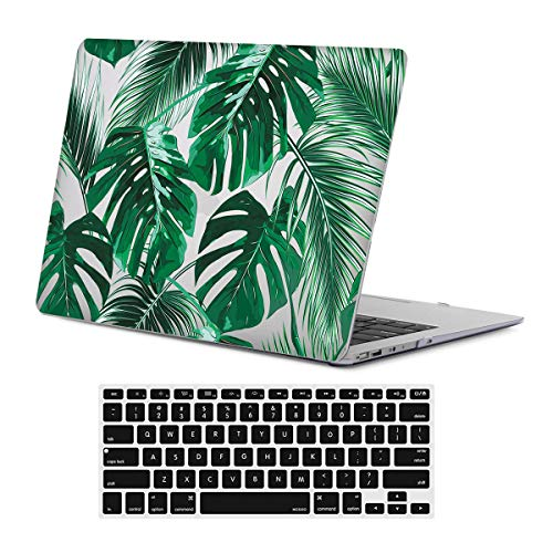 VamkoTec Laptop Case & Keyboard Cover Compatible with MacBook Old Air 13 inch No Retina Display (A1466 or A1369 Release 2010-2017),Palm Leaves