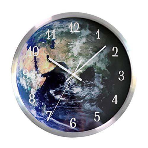Casa Sencillez Reloj De Pared Control De Voz Puntero De Metal InduccióN Led Luz De Noche Galaxia Tierra Reloj Luminoso Creativo Luminoso 30cm,Silver