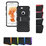 HLCT iPhone 8 Plus/7 Plus Stand Case, Rugged Shock Proof PC + TPU Dual-Layer Case with Built-in Kickstand (Black)