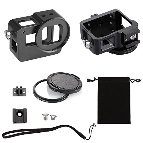 Best GoPro Hero 6/5 Action Sports Camera 100% CNC Aluminum Frame Protective Solid Shell Skeleton Housing Case Mount with Standard UV 52mm Filter Black (Black)