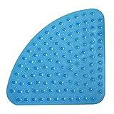 SANIMIX Blaue Viertelkreis Anti Rutsch Matte für die Dusche - Eck Duscheinlage, Duschmatte - Größe: 54 x 54cm