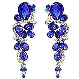 BriLove Gold-Toned Dangle Earrings for Women Wedding Bridal Bohemian Boho Crystal Multiple Teardrop Chandelier Long Earrings Royal Blue Sapphire Color