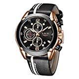 LIGE Watches for Men Sports Chronograph Waterproof Analog Quartz Watch with Black Leather Band...