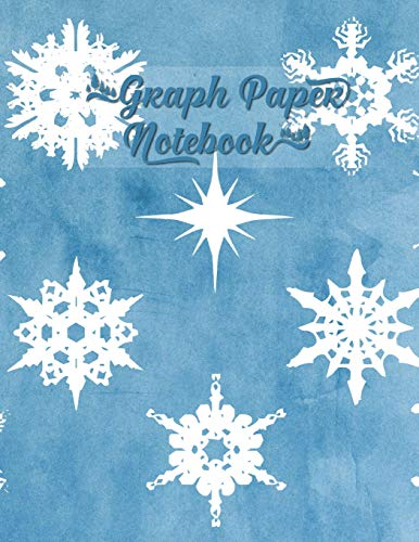 Graph Paper Notebook: Winter Snowflakes Blue Watercolor - Quad Ruled Paper 4x4, Large Size to Meet Your Needs