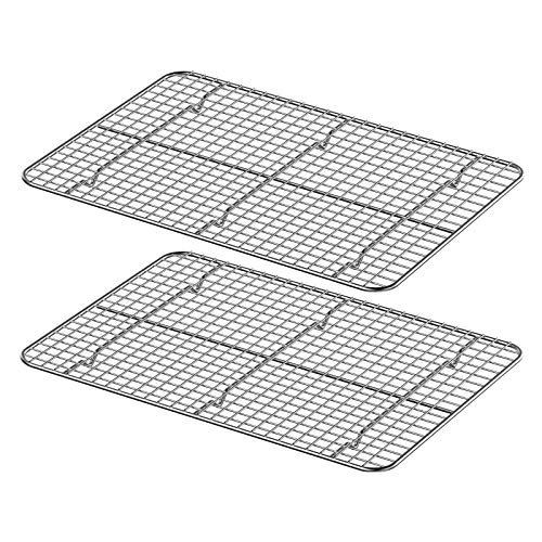 Wildone Cooling Rack Set of 2, Stainless Steel Baking Rack 15.3'' x 11.2'' x 0.6'' for Baking Sheet Cookie Pan, Oven Safe & Heavy Duty, Fits for Cooling, Baking, Grilling, Drying