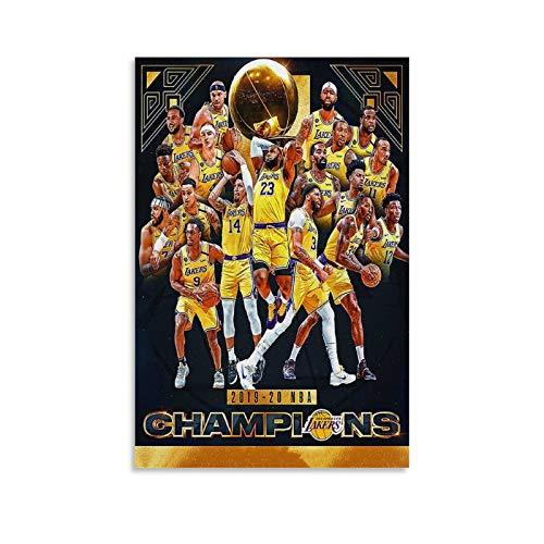 HULANG Póster de La Lakers Championships 2020 con impresión artística para pared o habitación familiar, 20 x 30 cm