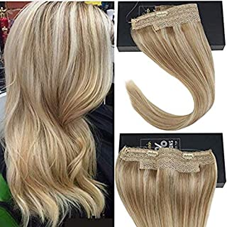 Sunny Halo Human Hair Extensions Invisible Wire Hair Extensions Blonde Color Ash Blonde Mixed Bleach Blonde #18/613 18inch 80g/pack