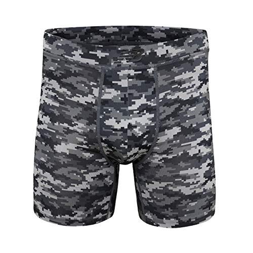 New Balance Men's Dry Fresh 6' Boxer Brief Underwear with Bonded Pocket, Digital Camo