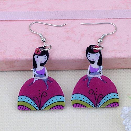 EHXWL Ángel Vestido Niñas Preciosas Pendientes de Gota de impresión de Hadas Diseño de acrílico Ángel Lindo para niñas Mujer Joyería