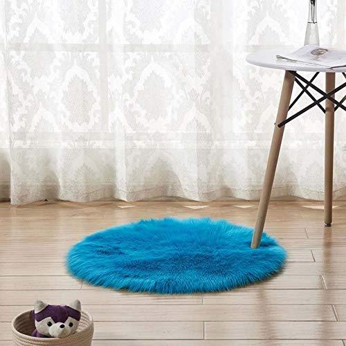 DFDFH Alfombra redonda suave de piel de oveja sintética para dormitorio, sala de estar, suelo de felpa, color blanco, alfombra de piel sintética