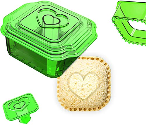 Sandwich Cutter and Sealer, Uncrustables Maker, Bread Sandwich Decruster for Kids Great for Lunchbox and Bento Box, Boys and Girls Kids Lunch(6-in-1) (green)