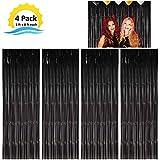 Moohome 4 Pack 3ft x 8ft Black Foil Fringe Curtains Backdrop Door Window Curtain Party Decoration (4-Pack, Black)
