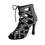 JUODVMP Damen Strass Latin Dance Peep Toe Schuhe...