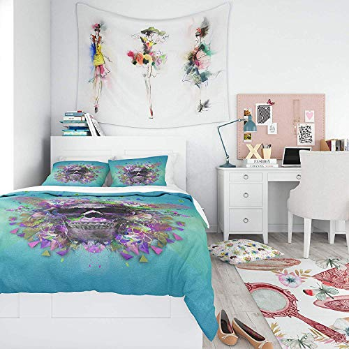 Bedding Duvet Cover Set - Skull with Glasses and Butterflies Design - Brushed Microfibre Duvet Cover with Pillowcases-Super king(260 * 220cm)