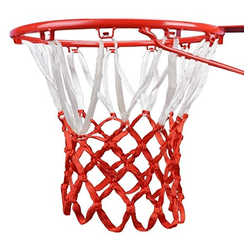 PPuujia Durable tamaño estándar hilo de nylon deportes baloncesto aro malla red trasera borde bola bola Pum (color: blanco y rojo)