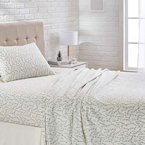 AmazonBasics Super-Soft Cotton Sheet Set-Twin, Sage Vine