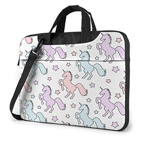 Laptop Messenger Laptop Bag Colorful Unicorns White Pattern Shoulder Bag Briefcase Office Laptop Sleeve Case Satchel Tablet for Men Women