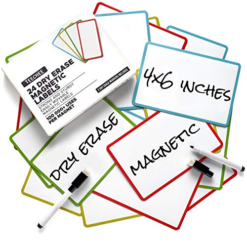 24 Extra Large Dry Erase Magnets 6x4 inches by TEECHEE + 2 Dry Erase Markers | Reusable Magnetic Labels for Homeschool, Office, Classroom, Household | Use on Whiteboards and Other Magnetic Surfaces