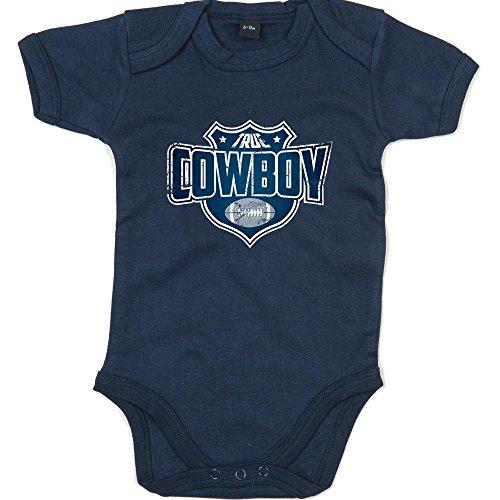 Shirt Happenz True Cowboy Premium Babybody American Football Super Bowl NFL Mädchen und Jungen Kurzarmbody, Farbe:Blau (Nautical Navy BZ10);Größe:3-6 Monate