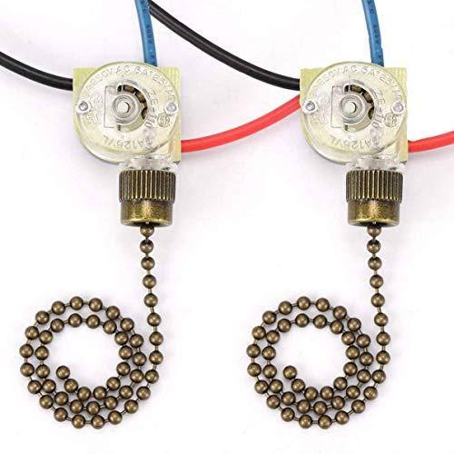 Ceiling Fan Light Switch ZE-110 Zing Ear Fan Switch 3 Way Speed Fan Switch Ceiling Pull Chain Switch Replacement 2Pack (Brown)