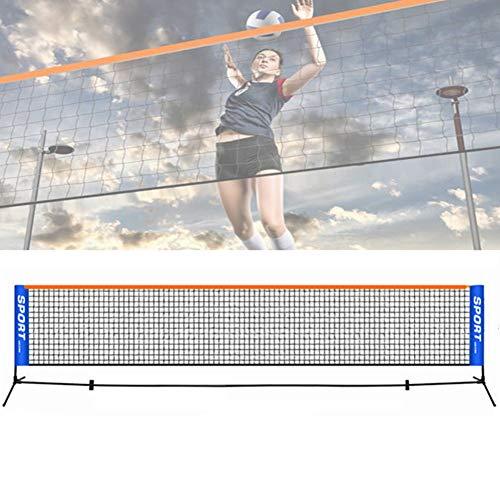 Jilijia 3–6 Meter verstellbares, faltbares Mini-Tennis- und Badminton-Kombi-Volleyball-Netz für Kinder, Junior, tragbares Gartennetz für Match-Training, ohne Regal, 4M