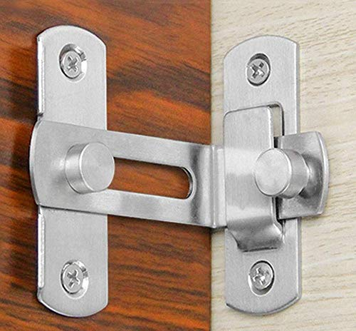 Door Hasp Latch 4 Inch,90 Degree Stainless Steel Safety Home Anti Theft Guard Bolts Action Hardware Sliding Lock Right Angle