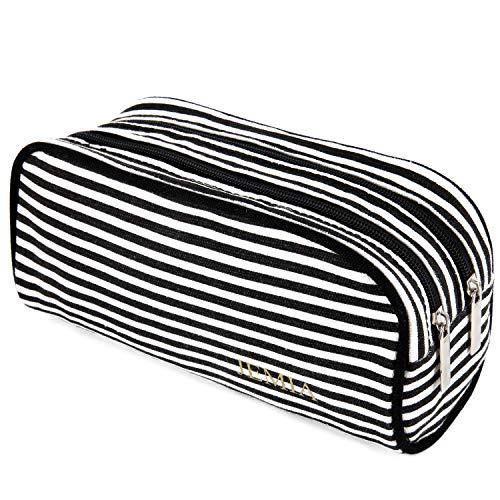 JEMIA Dual Compartments Collection 2 Independent Zipper Chambers with Mesh Pockets Pencil Case (Black White Stripes, Canvas)