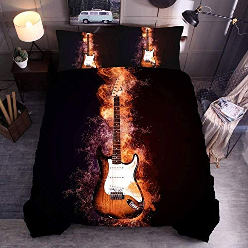 Bxooaceo Home Textile 3D King size 220 x 230 cm Print Bedding Set Children Cotton Cartoon Duvet Cover Sets Twin Full Queen King + 2 Pillowcase 50 X 75 cm Music red flame guitar pattern - 3D duvet co